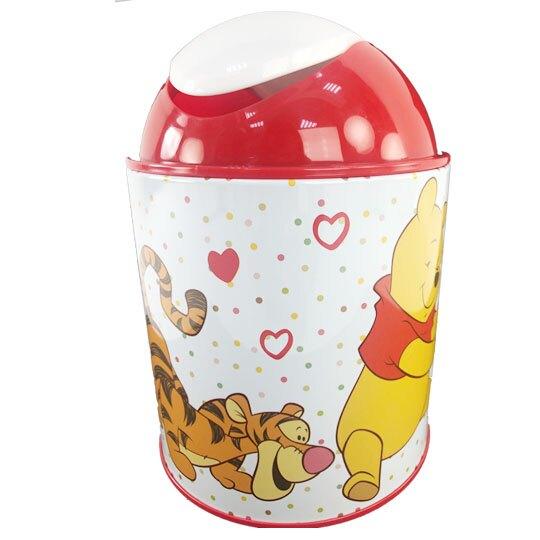 小禮堂 迪士尼 小熊維尼 圓形鐵垃圾筒 平衡蓋垃圾筒 桌上型垃圾筒 (紅白 積木)
