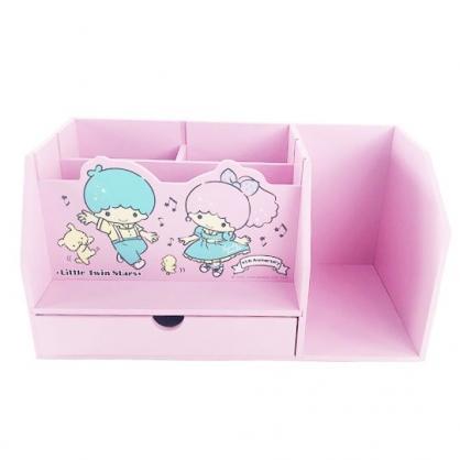 小禮堂 雙子星 橫式木製書架收納櫃 桌上型木製櫃 筆筒 抽屜櫃 (粉 音符)