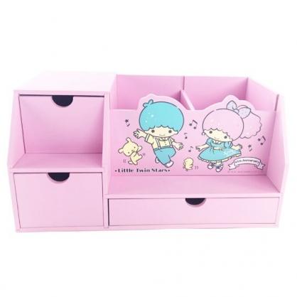 小禮堂 雙子星 橫式木製三抽收納櫃 桌上型木製櫃 筆筒 抽屜櫃 (粉 音符)