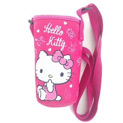 小禮堂 Hello Kitty 潛水布水壺背袋 環保杯袋 水壺套 杯套 500ml (桃 愛心)