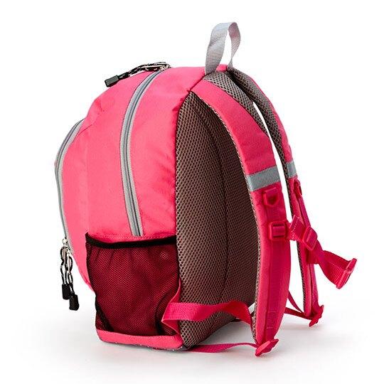 小禮堂 Hello Kitty 兒童尼龍雙層拉鍊後背包 書包 運動背包 (桃灰 電話)