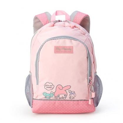 小禮堂 美樂蒂 兒童尼龍雙層拉鍊後背包 書包 運動背包 (粉灰 朋友)