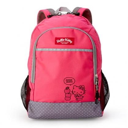 小禮堂 Hello Kitty 尼龍雙層拉鍊後背包 書包 運動背包 (桃灰 蘋果)