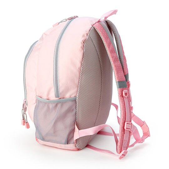 小禮堂 美樂蒂 尼龍雙層拉鍊後背包 書包 運動背包 (粉灰 看書)