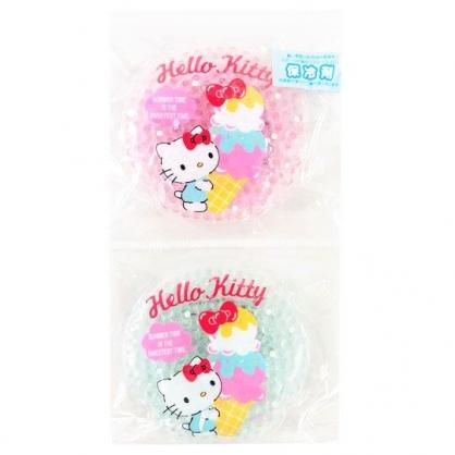 小禮堂 Hello Kitty 圓形透明果凍顆粒保冷劑 保冰劑 冰敷袋 (2入 粉綠 2020新生活)