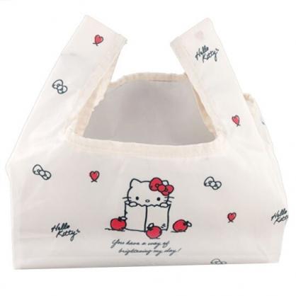 小禮堂 Hello Kitty 折疊尼龍環保便當袋 環保購物袋 餐袋 (米紅 蘋果)