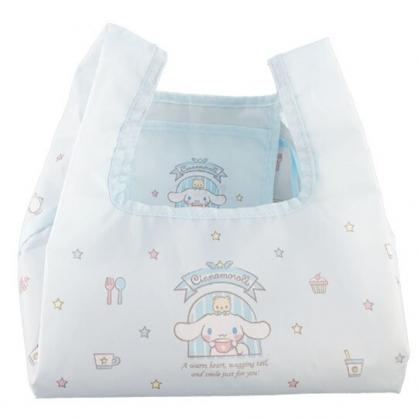 小禮堂 大耳狗 折疊尼龍環保便當袋 環保購物袋 餐袋 (藍 窗戶)