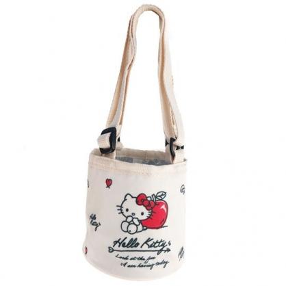 小禮堂 Hello Kitty 尼龍保冷飲料杯袋 環保杯袋 水壺袋 杯套 (米紅 蘋果)