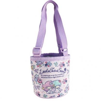 小禮堂 雙子星 尼龍保冷飲料杯袋 環保杯袋 水壺袋 杯套 (紫 花朵)