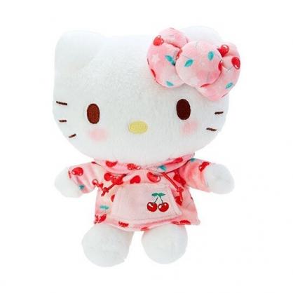 小禮堂 Hello Kitty 絨毛 玩偶 娃娃 布偶 (S 粉白 櫻桃帽T)