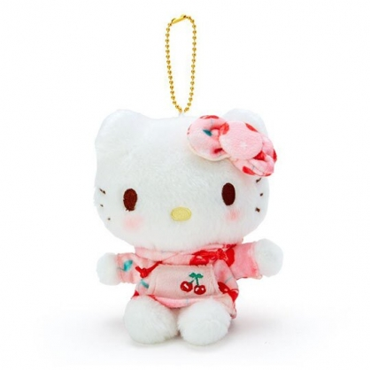 小禮堂 Hello Kitty 玩偶吊飾 絨毛 娃娃 吊飾 掛飾 鑰匙圈 (粉白 櫻桃帽T)