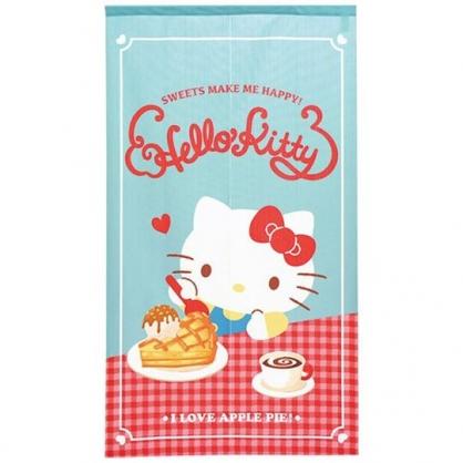 小禮堂 Hello Kitty 日製 棉麻長門簾 窗簾 遮光簾 85x150cm (綠紅 下午茶)