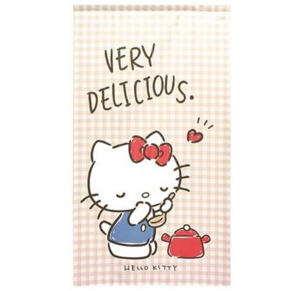 小禮堂 Hello Kitty 日製 棉麻長門簾 窗簾 遮光簾 85x150cm (米棕 格紋)