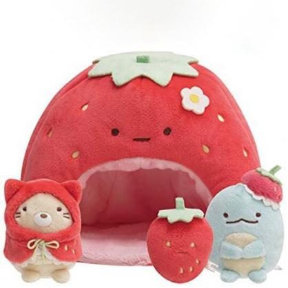 小禮堂 角落生物 草莓造型絨毛玩偶娃娃屋 絨毛收納盒 小物收納盒 布偶 (紅)