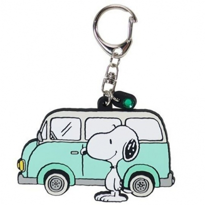 小禮堂 史努比 造型矽膠鑰匙圈 吊飾 掛飾 鎖圈 (綠白 車子)