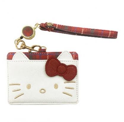 小禮堂 Hello Kitty 造型皮質易拉扣伸縮票卡夾 證件夾 卡套 (紅白 大臉)