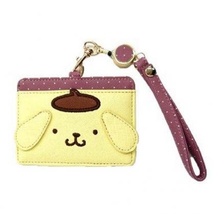小禮堂 布丁狗 造型皮質易拉扣伸縮票卡夾 證件夾 卡套 (黃棕 大臉)