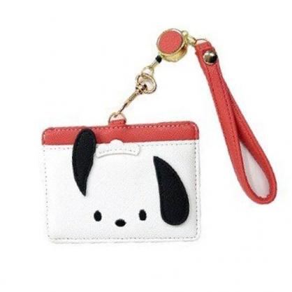 小禮堂 帕恰狗 造型皮質易拉扣伸縮票卡夾 證件夾 卡套 (白紅 大臉)