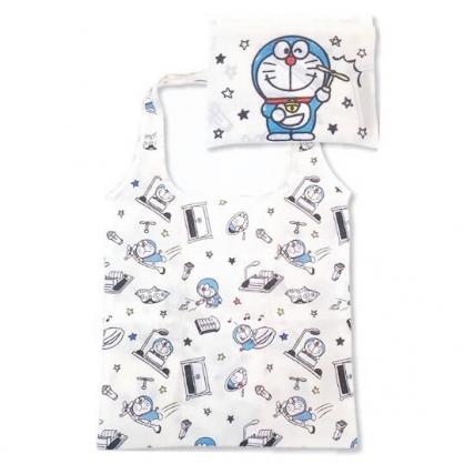 小禮堂 哆啦A夢 折疊尼龍環保購物袋 環保袋 側背袋 (米黑 竹蜻蜓)