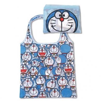 小禮堂 哆啦A夢 折疊尼龍環保購物袋 環保袋 側背袋 (藍 大臉)