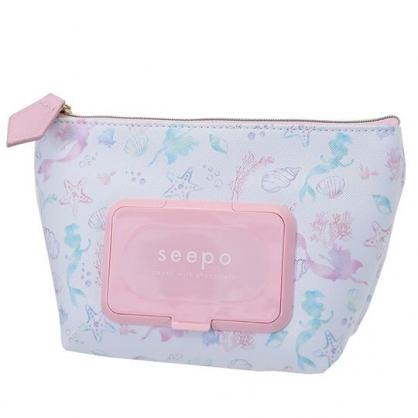 小禮堂 迪士尼 小美人魚 船形皮質濕紙巾收納包 抽取式紙巾包 面紙化妝包  (白粉)