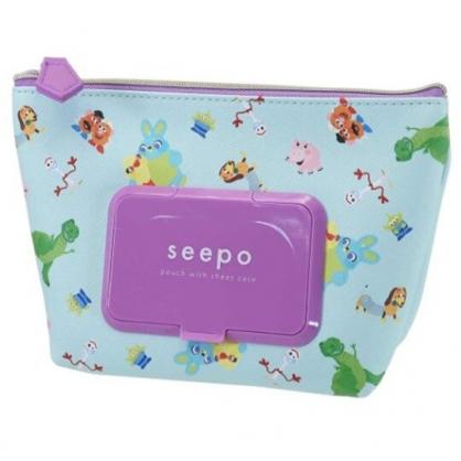 小禮堂 迪士尼 玩具總動員 船形皮質濕紙巾收納包 抽取式紙巾包 面紙化妝包  (綠紫)