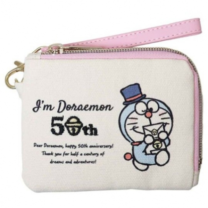 小禮堂 哆啦A夢 帆布票卡零錢包 票卡夾 證件夾 附腕繩 (米粉 50週年)