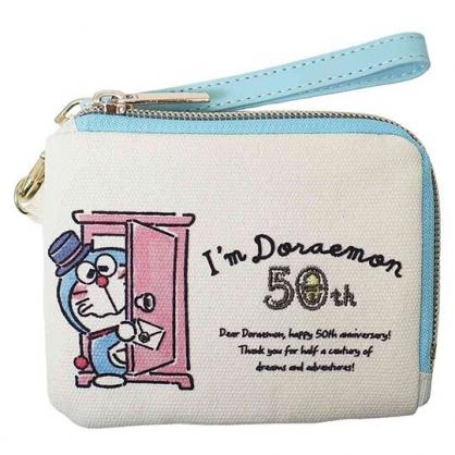 小禮堂 哆啦A夢 帆布票卡零錢包 票卡夾 證件夾 附腕繩 (米藍 50週年)