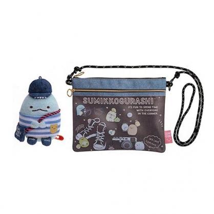 小禮堂 角落生物 防水雙層扁平斜背袋 隨身背包  防水包 附玩偶 (藍 物品)
