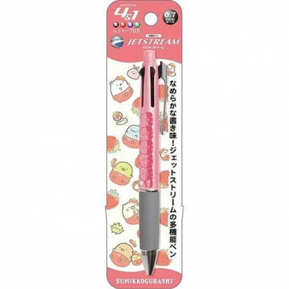 小禮堂 角落生物 日製 多功能原子筆 自動鉛筆 多色筆 四色筆 Jetstream (紅灰 草莓)