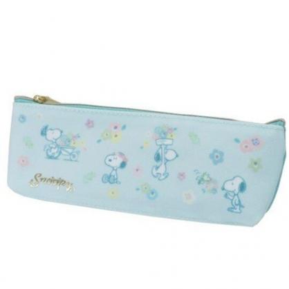 小禮堂 史努比 尼龍拉鍊筆袋 鉛筆盒 筆袋 牙刷收納袋 (綠 花朵)