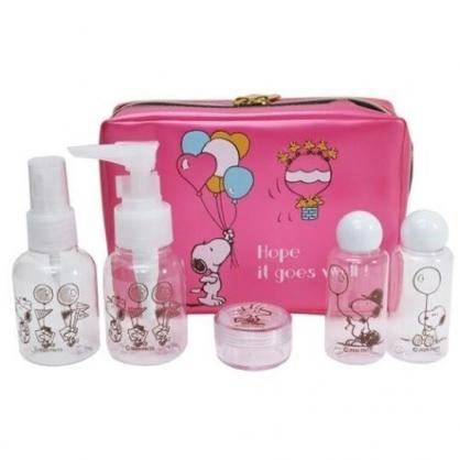小禮堂 史努比 旅行盥洗包五件組 旅行瓶罐組 盥洗組 防水化妝包 (桃 汽球)
