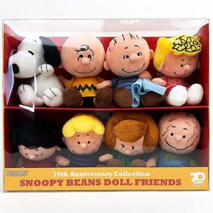 小禮堂 史努比 70週年紀念絨毛玩偶娃娃組 紀念布偶 娃娃禮盒 (8入 透明盒裝)