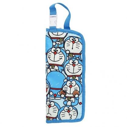 小禮堂 哆啦A夢 尼龍吸水速乾折傘套 雨傘收納袋 傘袋 水壺袋 (藍 滿版)