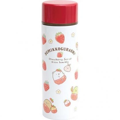 小禮堂 角落生物 迷你旋轉蓋不鏽鋼保溫瓶 兒童水壺 隨身瓶 140ml  (紅白 草莓)