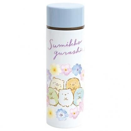 小禮堂 角落生物 迷你旋轉蓋不鏽鋼保溫瓶 兒童水壺 隨身瓶 140ml  (白紫 花朵)
