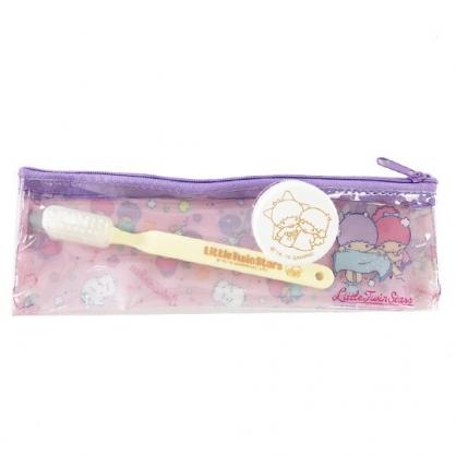 小禮堂 雙子星 旅行牙刷組 牙刷袋 乳液盒 盥洗組 附牙刷蓋  (粉紫 洗澡)