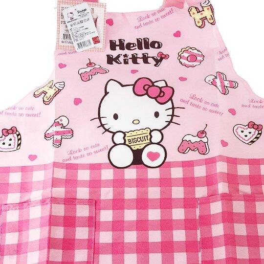 小禮堂 Hello Kitty 綁帶式帆布圍裙 烘培圍裙 工作圍裙 (粉 餅乾)
