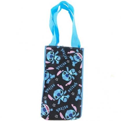 小禮堂 迪士尼 史迪奇 方形尼龍保冷水壺袋 環保杯袋 飲料杯袋 (藍黑 滿版)