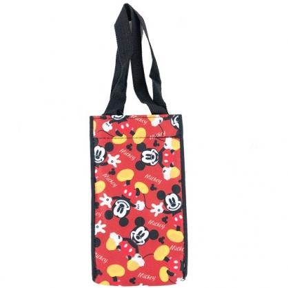 小禮堂 迪士尼 米奇 方形尼龍保冷水壺袋 環保杯袋 飲料杯袋 (紅黑 滿版)