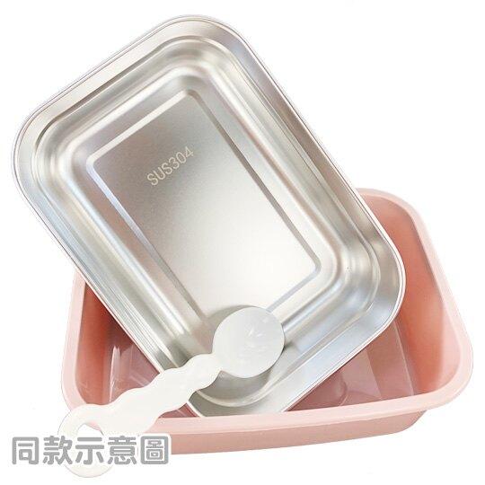 小禮堂 角落生物 方形不鏽鋼隔熱便當盒 隔熱餐盒 保鮮盒 附湯匙 850ml (粉 疊坐)