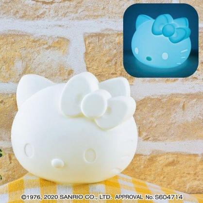 小禮堂 Hello Kitty 大臉造型矽膠觸碰變色燈 觸碰夜燈 床頭燈 (白)