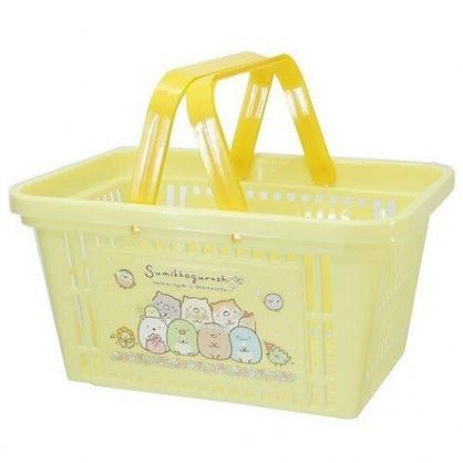 小禮堂 角落生物 塑膠手提置物籃 購物提籃 浴室收納籃 (黃 花圈)
