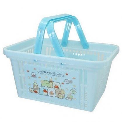 小禮堂 角落生物 塑膠手提置物籃 購物提籃 浴室收納籃 (藍 麵包)