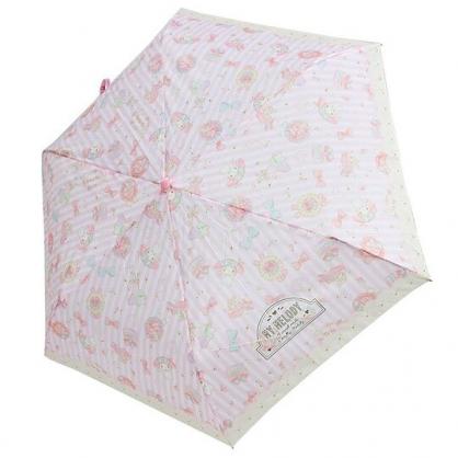 小禮堂 美樂蒂 彎把防風傘骨折疊傘 防風折傘 雨傘 (粉 直紋)