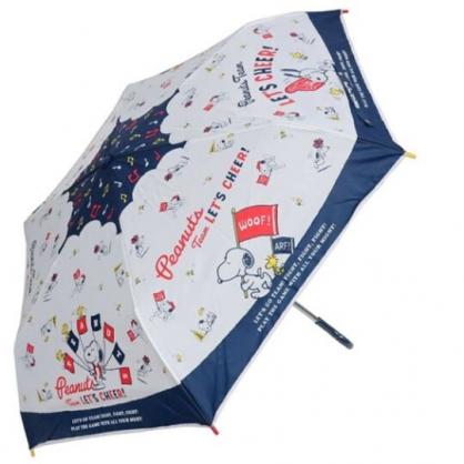 小禮堂 史努比 彎把防風傘骨折疊傘 防風折傘 雨傘 (藍白 旗子)