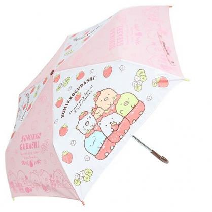 小禮堂 角落生物 彎把防風傘骨折疊傘 防風折傘 雨傘 (紅 草莓)