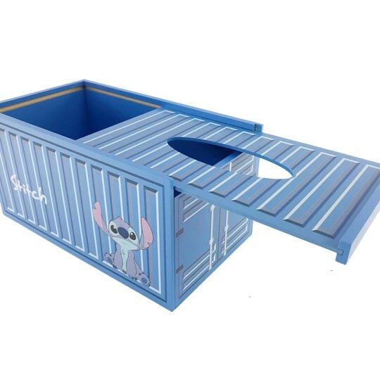 小禮堂 迪士尼 史迪奇 木製滑蓋面紙盒 抽取式紙巾盒 衛生紙盒 (藍 貨櫃)