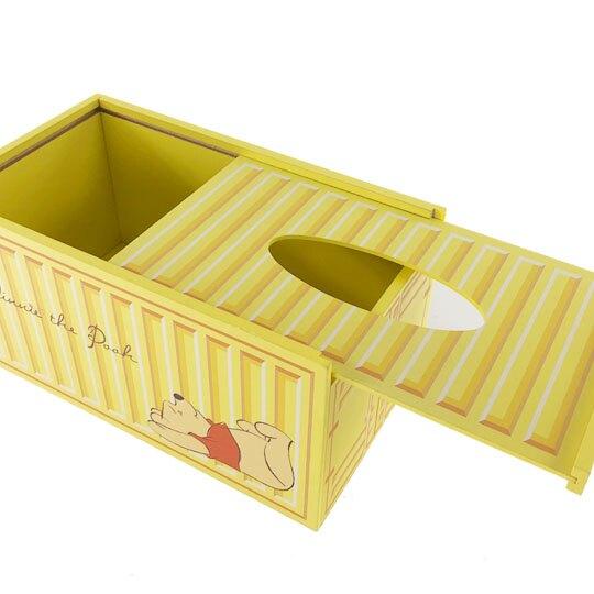小禮堂 迪士尼 小熊維尼 木製滑蓋面紙盒 抽取式紙巾盒 衛生紙盒 (黃 貨櫃)