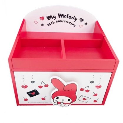 小禮堂 美樂蒂 木製單抽三格收納盒 桌上型收納盒 抽屜盒 (紅白 信封)